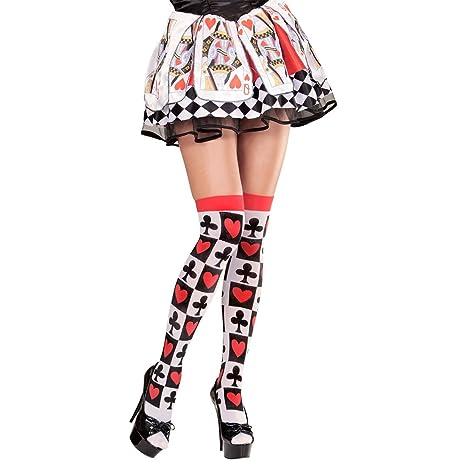 a86e81a4e2 NET TOYS parigine con carte da gioco Poker calze da donna Alice collant  calza al ginocchio