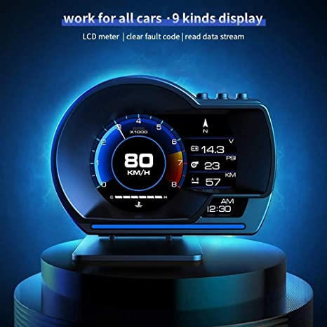 HUDO P6 Car HUD Head Up Display OBD+GPS Speedometer Smart Gauge with LCD Screen Display ECU Computer Data for Universal Vehicle l Model