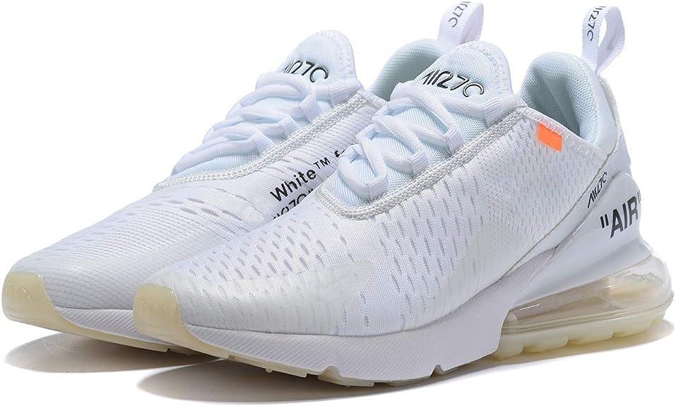 Saixu Air Max 270 Chaussures de Running Compétition Femme Homme Sneakers (36 EU, 1 Blanc)