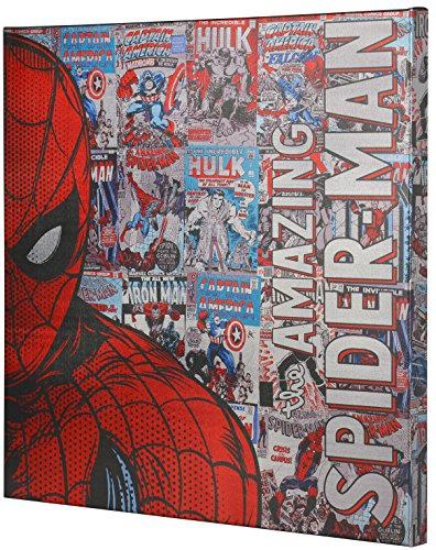 Metallic Canvas - Marvel Spiderman Retro XL Metallic Canvas Comic superhero wall Art, 25x25 Edge Home A2501HU4