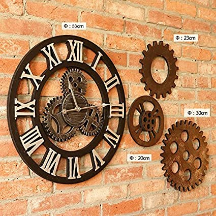 fwerq Engranaje Relojes Personalizados Reloj Retro eólica Industrial Tapices de Pared Decoración Creativa Bar CafÉ Pared