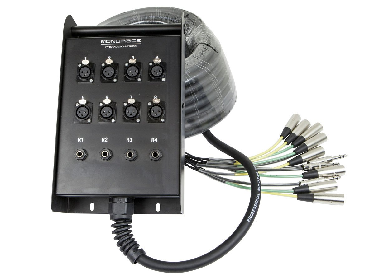 Monoprice 12-Channel Snake & 8 XLR x 4 TRS Stage Box - 50 feet With Metal Body Connectors And Rubber Strain Relief Boots