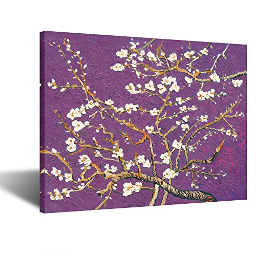 Creative Art- Canvas Prints Giclee Artwork for Wall Decor Classic Van Gogh Artwork Oil Paintings Reproduction Almond Blossom Canvas Picture Photo Prints on Canvas Art for Wall (Purple)
