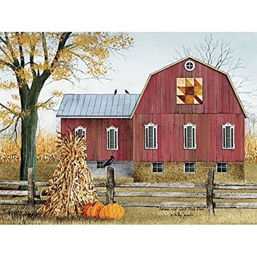 Autumn Leaf Quilt Block Barn By Billy Jacobs - 16 x 12 Art Print - Leaf Quilt Block