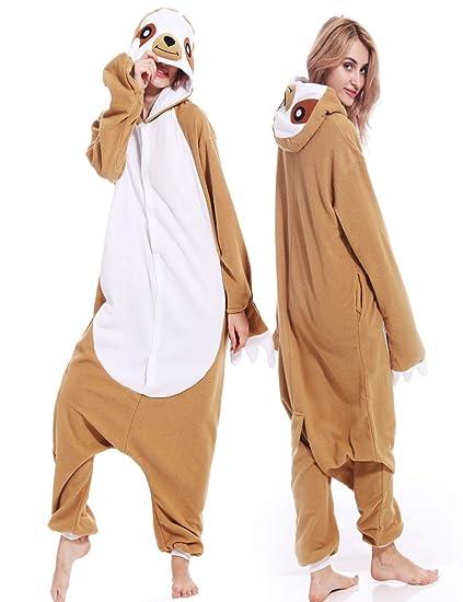 93734bf74f90 Amazon.com  Adult Unisex Sloth Pajamas Cosplay Animal Homewear Sleepwear  Jumpsuit Costume for Women Men  Clothing