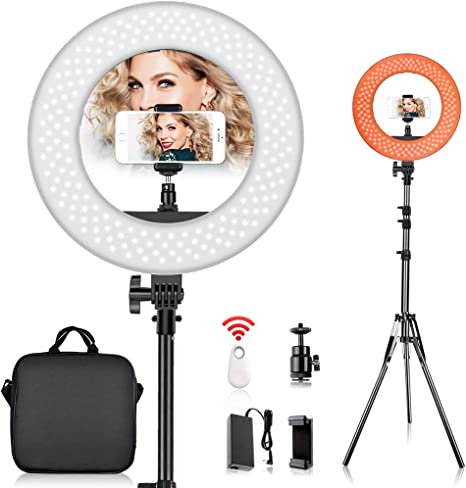 10 inch Ring Light Kit Dimmable Ring Lighting Kit with 2.1M Light Stand 2 Phone Holders Work with Smartphone and SLR Camera for Video Shooting