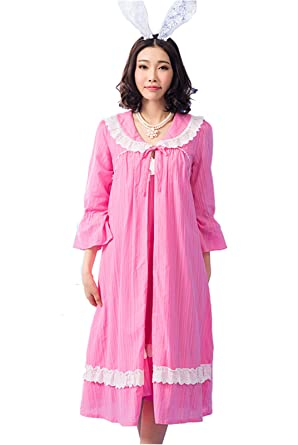 ab2e1be31b Girls Pink Long Sleeve Vintage Design Cotton Nightdress Romantic Classic  Princess Nightgown Coat and Condole Belt SSL-0003-RRM (M