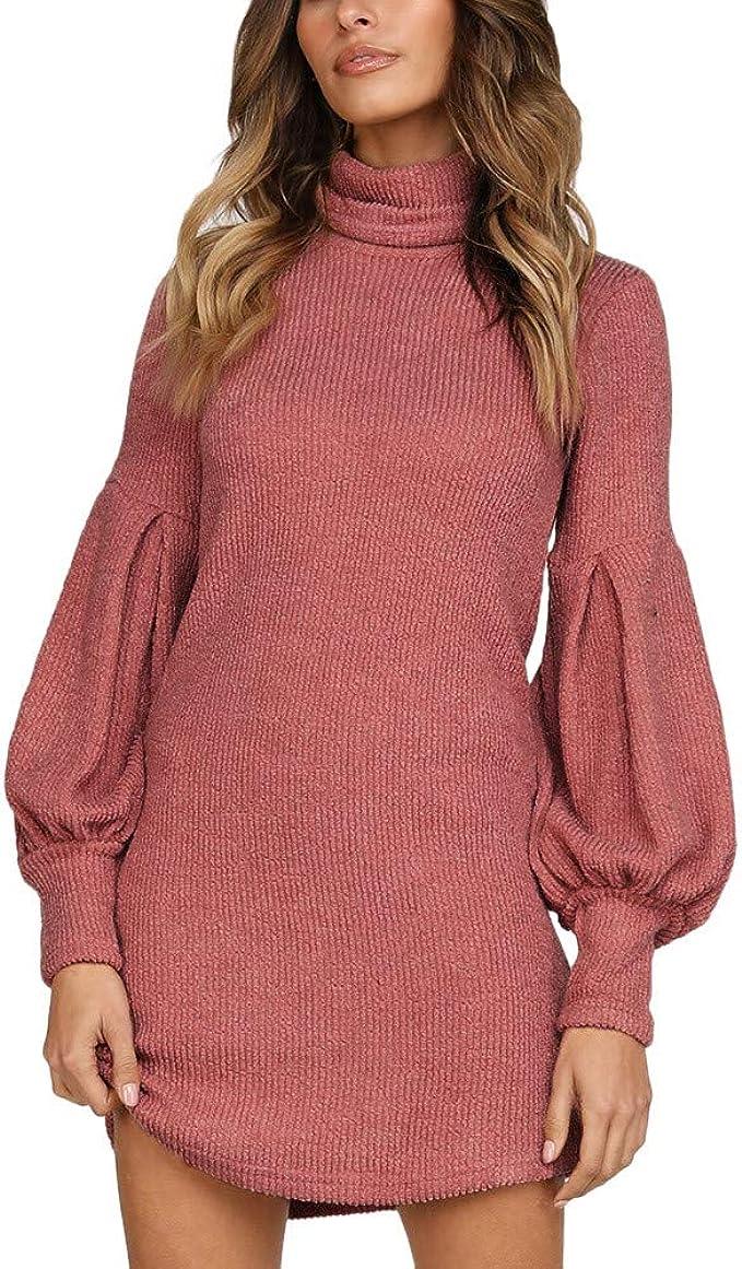 Sunday Damen Pullover Minikleid Herbst Winter Kleid Casual Mode Pulli Kleid Langarm Strickkleid Rollkragenpullover Kleid Abendkleid Club Partykleid Bekleidung