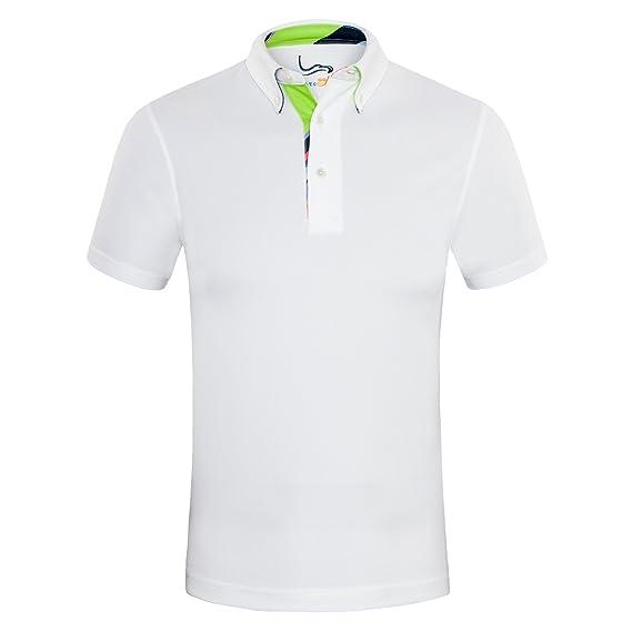 EAGEGOF Homme Polo Sport T-Shirt Manche Courte Technique Performance Golf Tennis Course Confortable Décontracté Chemise Orange, AN016 - XL