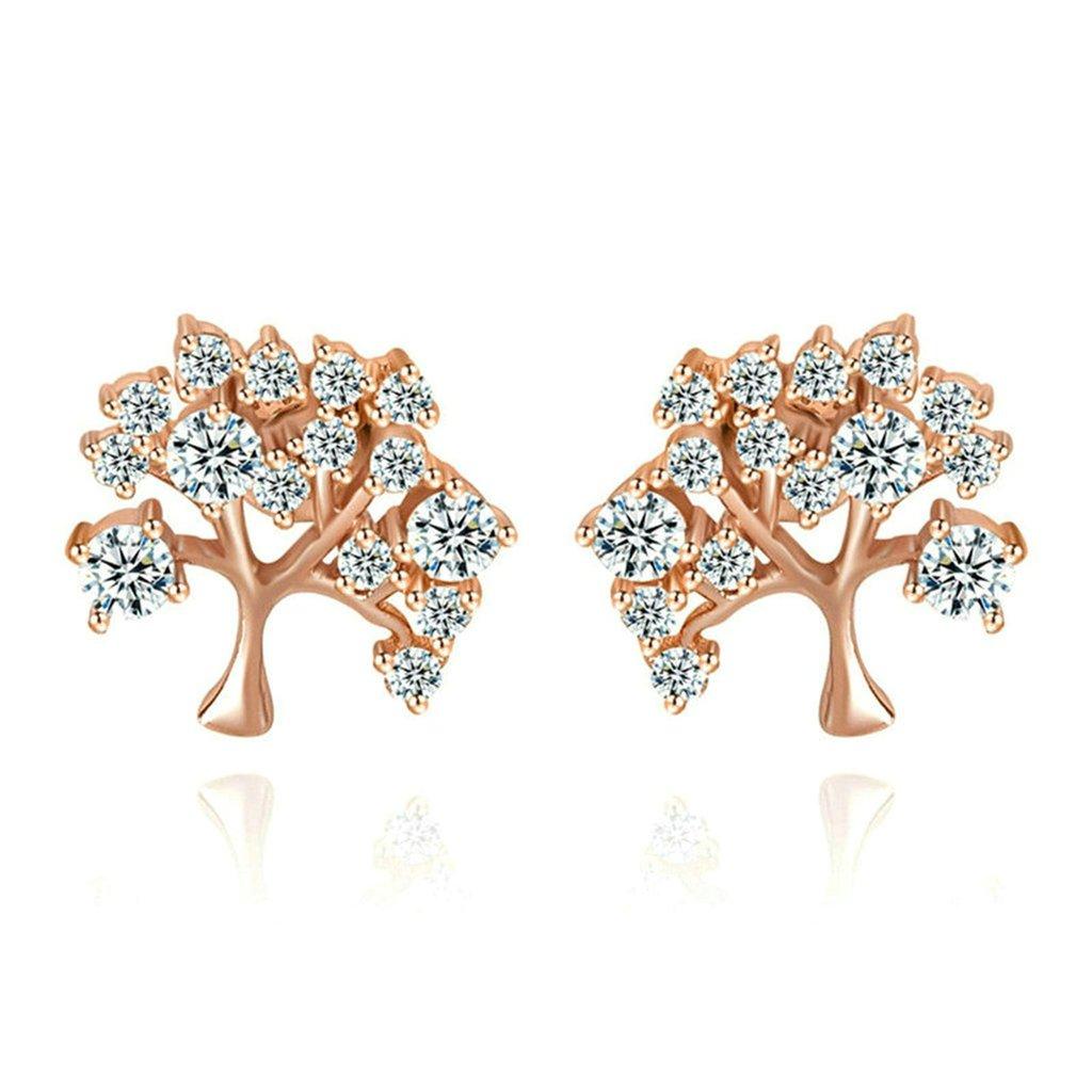 Daesar Gold Plated Earrings Stud Womens Round White Channel Cubic Zirconia Earring Rectangle Earrings