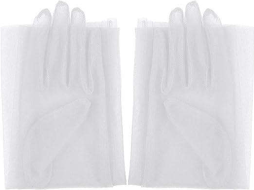 dPois Damen Transparent Handschuhe F/äustlinge Stulpen Ellenbogen Lang aus T/üll Party Abend Karneval Kost/üm Accessoires Elegant