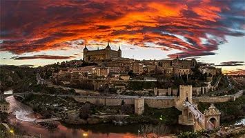 Papel tapiz Mural Toledo España Paisaje Cielo Noche Castillo de río Para Oficina en casa Tv Pared Fondo Decoración tela de seda (W)500x(H)280cm: Amazon.es: Bricolaje y herramientas