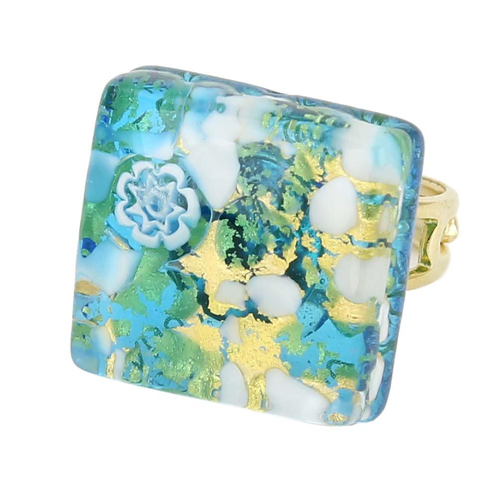 GlassOfVenice Murano Glass Venetian Reflections Square Adjustable Ring - Aqua Gold
