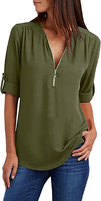 Tuopuda camisetas de mujer camisa de gasa suelta camiseta con cuello en V transpirable camiseta manga larga bluse cuello pullover puro color Tops Verde L: Amazon.es: Ropa y accesorios