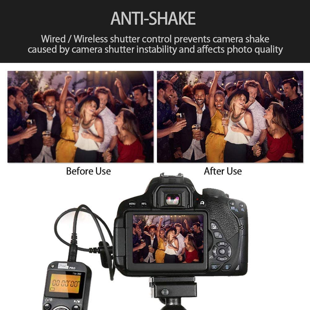 PIXEL Digital SLR Cameras Wireless Shutter Cord Release Remote Control Timer for Nikon D800 D810 D700 D500 D300 D200 D1 D2 D3 D4 D5 D500 D3 Series,N90s F5 F6 F100 F90 F90X S5 Pro S3 Pro Kodak DCS-14N