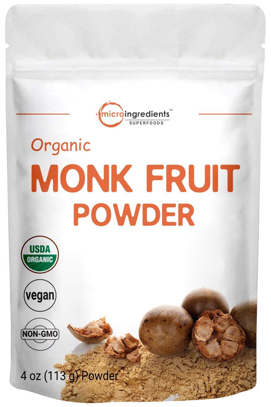 USDA Organic Monk Fruit Powder, 4 Ounce (113 Grams), Zero Calorie, Zero Carb, Sugar Alternative, Monk Fruit Keto Diet, Perfect Paleo & Low-Carb Dieters, Natural Sweetener, Vegan