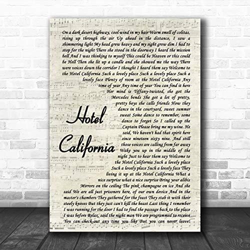 Hotel California Vintage Script Song Lyric Art Music Quote Gift Poster Print (Hotel California Lyrics)