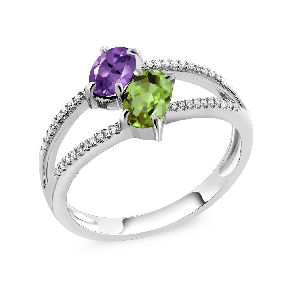 Gem Stone King 10K White Gold Purple Amethyst and Green Peridot 2 Stone Women's Ring 1.13 Ctw Oval (Size 9) by Gem Stone King