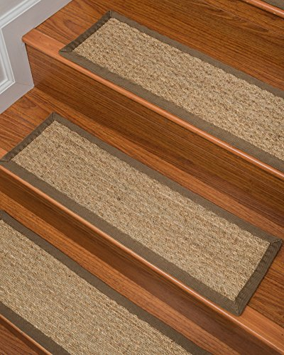 Natural Area Rugs Handcrafted Half Panama Seagrass Carpet Stair Treads - Malt 9 x 29 (Set of 13)