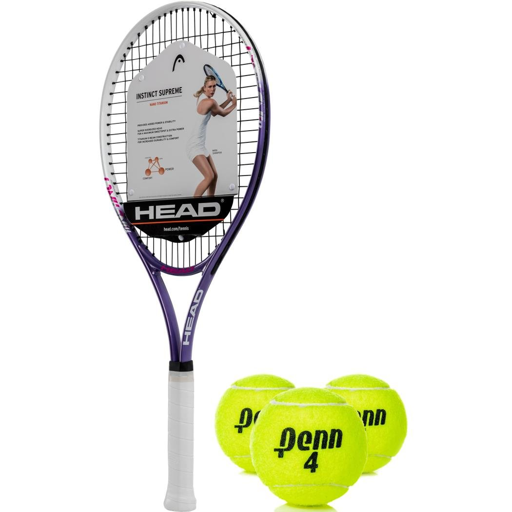 Amazon.com : HEAD Ti Instinct Supreme Pink/White Tennis Racquet Kit or Set Bundled with (1) Can of 3 Penn Tennis Balls : Sports & Outdoors