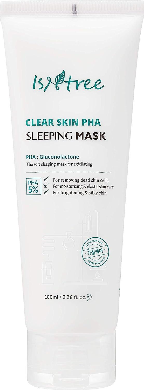 Isntree Clear Skin PHA Hydrating Exfoliating Sleeping Mask 3.38 fl. oz. - Korean Skin Care Sleeping Mask for Dry, Irritating Skin - Deeply Moisturizing & Nourishing, Exfoliant – Removes Blackheads