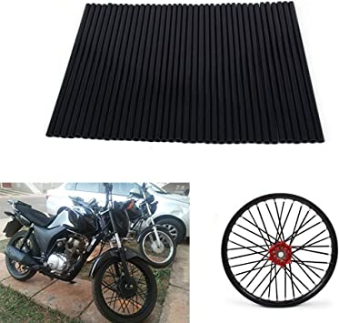 Universal Motocross Dirt Bike MX Enduro Off Road Wheel Rim Spoke avvolge protezioni Skins Covers 72pcs Nero lot Spoke Skins Covers Per cerchi da 19-21