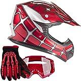 Youth Kids Offroad Gear Combo Helmet Gloves Goggles DOT Motocross ATV Dirt Bike MX Spiderman Red, Medium