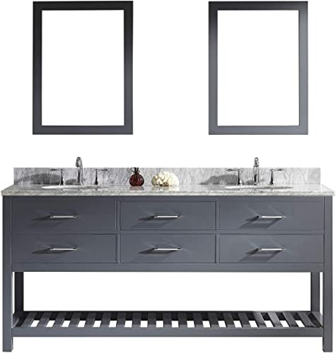 Virtu USA Caroline Estate 72 inch Double Sink Bathroom Vanity Set in Grey w Round Undermount Sink, Italian Carrara White Marble Countertop, No Faucet, 2 Mirrors – MD-2272-WMRO-GR