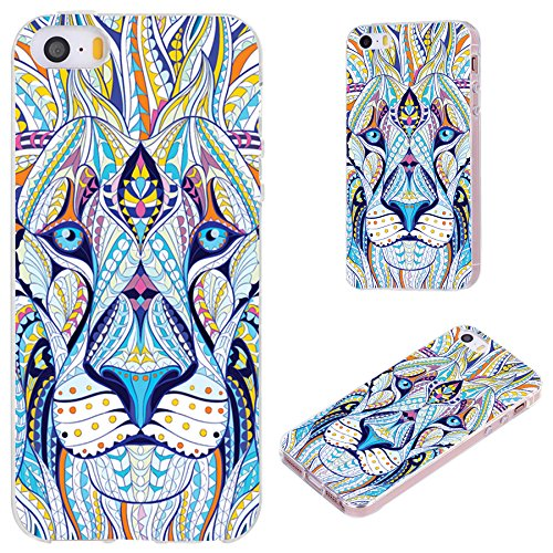 (iPhone SE Case,iPhone 5S Case,iPhone 5 Case,VoMotec [Cute series] Anti-scratch Slim Flexible Soft TPU Protective Skin Cover Case For iPhone 5 5S SE,totem tattoo head of the lion)