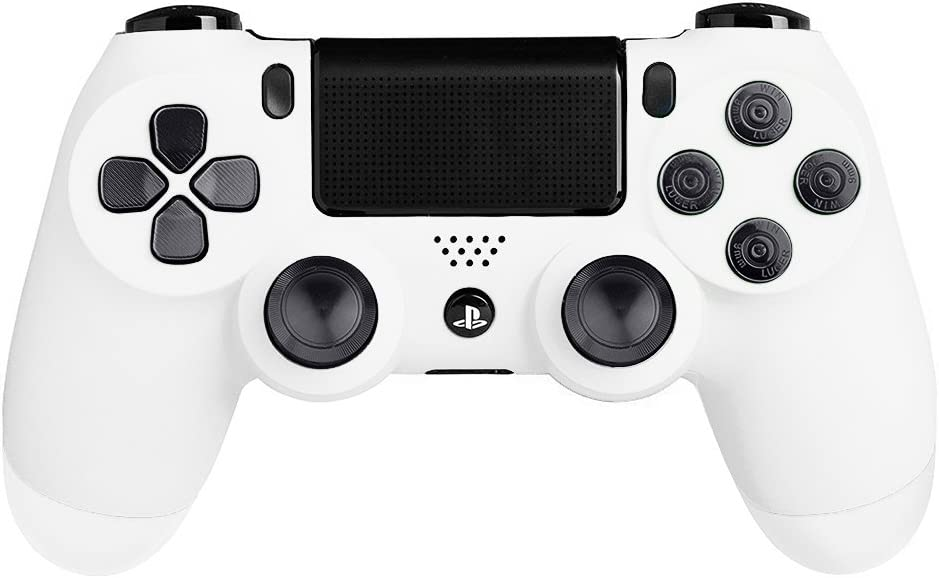 XFUNY Metal Bullet Buttons ABXY Buttons + Thumbsticks Thumb Grip and Chrome D-pad for PS4 DualShock 4 Controller Mod Kit - Gray