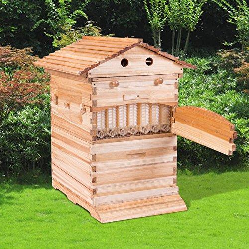 Goplus 벌집 프레임 흐름 벌꿀 나무 벌집 집 벌크 자동 허니 벌집 상자 키트 7 표준 프레임/Goplus Beehive Frames Flow Honey Wooden Beehive House Bulk Automatic Honey Beehive Box Kit with 7 Standard Frames