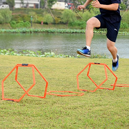 Sportneer Hexagonal Speed and Agility Training Aid Rings, (6 Pieces) with Carrying Bag