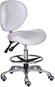 Kaleurrier Adjustable Stools Drafting Chair with Backrest & Foot Rest,Tilt Back,Peneumatic Lifting Height,Swivel Seat,Rolling wheels,for Studio,Dental,Office,Salon and Counter,Home Desk Chairs (White)