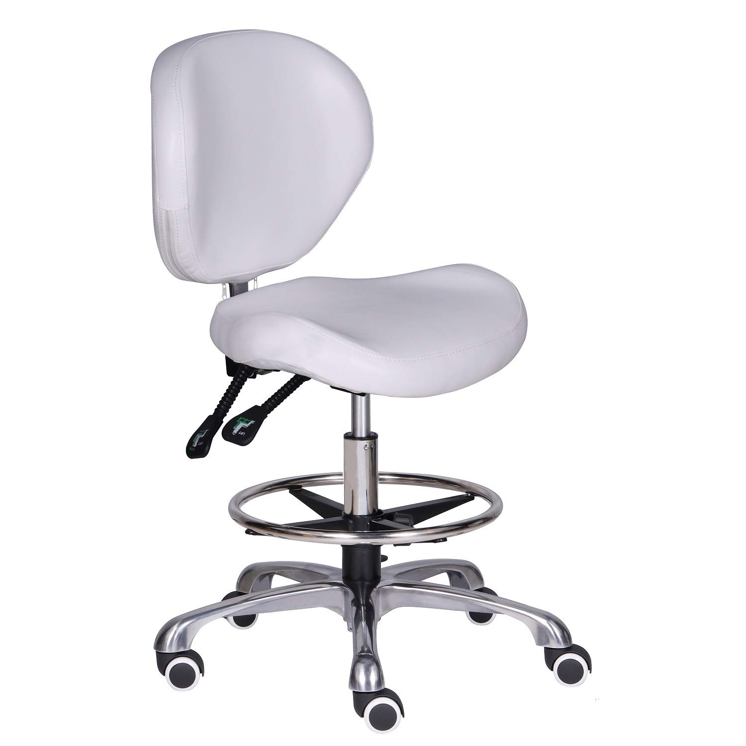 Kaleurrier Adjustable Stools Drafting Chair with Backrest & Foot Rest,Tilt Back,Peneumatic Lifting Height,Swivel Seat,Rolling Wheels,for Studio,Dental,Office,Salon and Counter,Home Desk Chairs,White