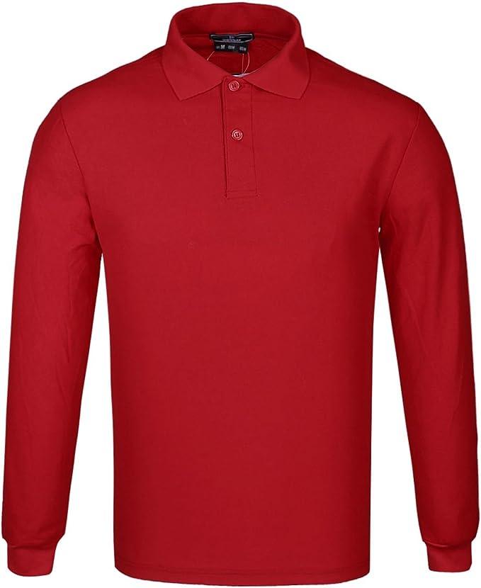 DONNAY Hombre Camiseta Polo Manga Larga De Algodón Rojo XL: Amazon ...