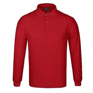 DONNAY Hombre Camiseta Polo Manga Larga De Algodón Rojo S: Amazon ...