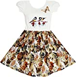 JX15 Girls Dress Vintage Bird Butterfly School Party Dress Size 10