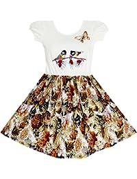 Sunny Fashion Girls Dress Vintage Bird Butterfly School Party Dress Size 5-10