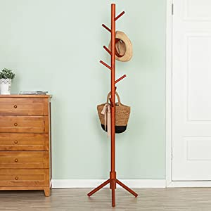 D&L Waterproof Wood Coat Rack,Coat Stand Multifuctional Personality Sturdy Tripod Base 8 Hooks Cloakroom Bedroom Living Room Hat Coat Jacket Scarf-B 68.9x18.5inch(175x47cm)