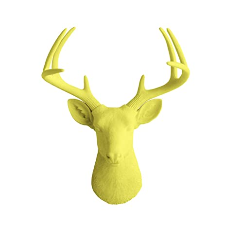 Amazon.com: Deer Head by Wall Charmers | Yellow Faux Head Mount Bust ...