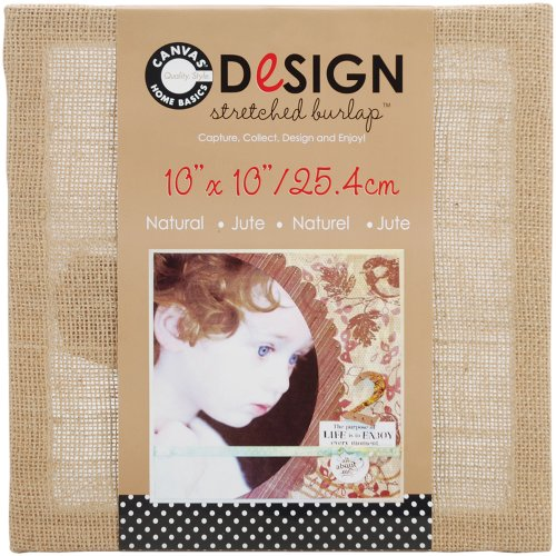 Canvas Corp 10-Inch by 10-Inch Jute Stretched Natural Burlap