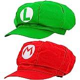 Super Mario berretto 2x SET MARIO ROSSO et VERDE LUIGI Per adulti e bambini costumi di carnevale carnevale cappelli Cappello rosso di Super Mario travestimento carnevali cosplay e feste