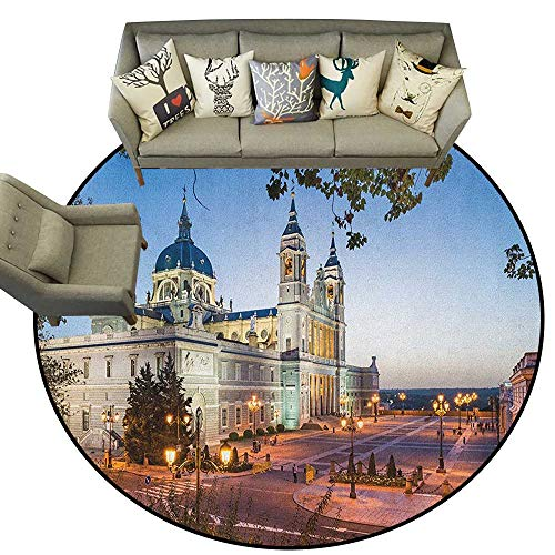 European,Runner Rugs Old Cathedral and Royal Palace in Madrid Mediterrenean City Europe Urban Print D48 Soft Floor Mats for Bedroom Living Room ()