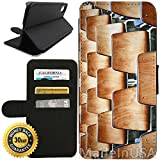 Flip Wallet Case for iPhone X/10 (Wooden College Chairs) with Adjustable Stand and 3 Card Holders | Shock Protection | Lightweight | Includes Free Stylus Pen by Innosub