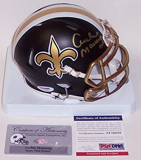 22a2afb65 Image Unavailable. Image not available for. Color: Archie Manning  Autographed Hand Signed New Orleans Saints BLAZE Riddell Speed Mini Football  Helmet - PSA