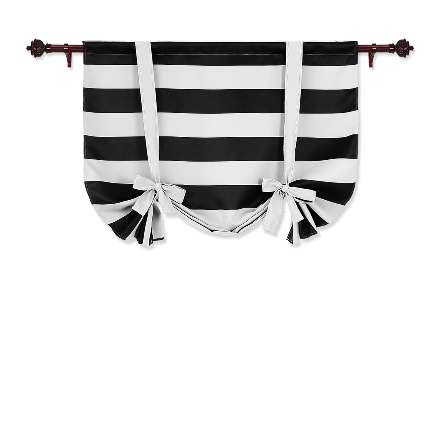 Deconovo Striped Blackout Curtains Rod Pocket Black and White Striped Curtains Tie Up Window Drapes for Living Room 46W X 45L Black 1 Panel Curtains