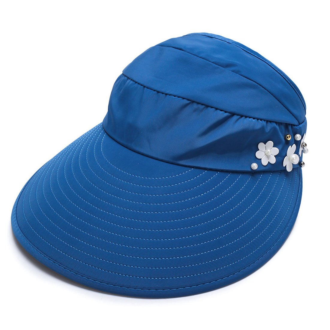 King Star UPF 50+ Womens Foldable Wide Large Big Brim Beach Visor Cap Summer Sun Hat Mid Blue