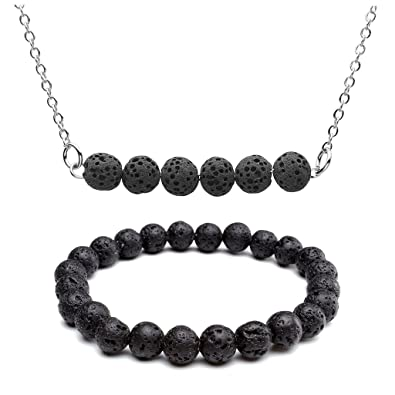 Aromatherapy Jewellery With Gems. Essential Oil Lava Stone Diffusing Bracelet Jewelry & Watches