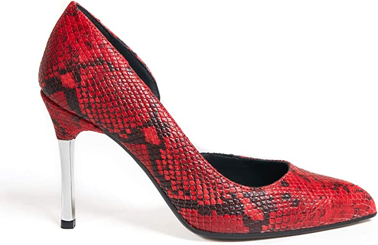 Marsida Decolleté Meghan Red Python, Chaussure en Cuir de