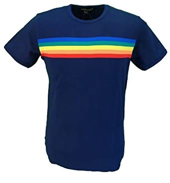 ae1ef3df75 mazeys Mens Navy Retro Rainbow Striped T Shirt: Amazon.co.uk: Clothing